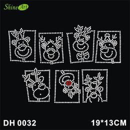Free shipping Christmas Reindeer Heads Iron On Hotfix Crystal T Shirt Motif Patch GemDIY DH0032#