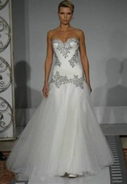 Wholesale 2017 classic Pnina Tornai Wedding Dresses A Line Sweetheart Bridal Gowns Bling Bling with Tulle Beaded Lace Up Back sweep Train Wedding Dre