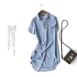 Autumn 2017 new fashion high quality women denim dress casual lapel loose depth wate short sleeved T shirt dresses plus size free shipping