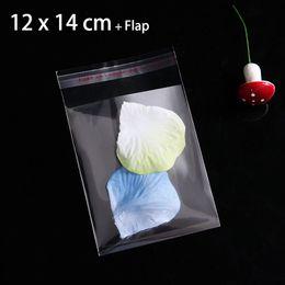 Pequeñas bolsas de plástico adhesivo transparente en Línea-400pcs Nuevo bolso de empaquetado plástico del sello autoadhesivo para el caramelo los 12cmx14cm + 3cm despejan los pequeños bolsos del regalo