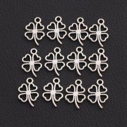 Wholesale 300pcs Antique Silver Clover Leaf Charms Pendants Jewelry Findings Components DIY L368 x17mm Tibetan Silver
