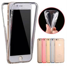 Promotion écran tactile pour samsung Couverture complète transparente transparente de peau de 360 degrés de partie arrière de TPU de cas d'écran tactile de cas d'écran pour l'iPhone 7 6S Samsung Galaxy s6 s7 note7