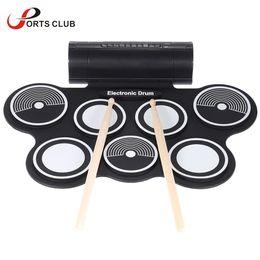 Wholesale Venta al por mayor Silicona Electrónica Drum Pad Kit Portátil Digital USB MIDI Roll up con pedal Pedal plegable