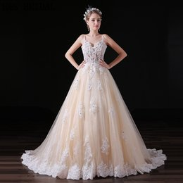 Champagne V-neck Lace Beaded Wedding Dress 2017 Sheer Bodice Thin Straps Custom Made Real Photos Tulle Bridal Gowns A032
