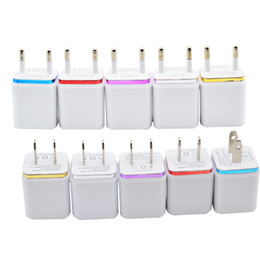 5V 1A Dual Port Charger US EU Plug Power Adapter Home Travel Wall USB Charger for iPhone 5 6 plus Samsung HTC Colorful