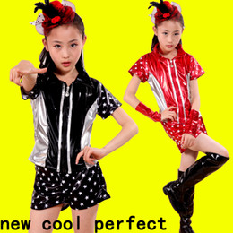2017 new children jazz dancing girl girl cheerleading modern dance performance costume hip hop performance costume + shorts red  black free
