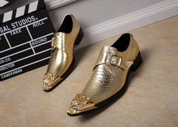 2017 chaussures robe de moine Christia Bella Chaussures Hommes en cuir véritable Chaussures italiennes Formal Chaussures en or Hommes Mariage Business Oxfords Hommes Monk