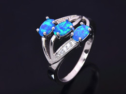 Wholesale & Retail Fashion Fine Blue Fire Opal Ring 925 Silver Plated Jewelry For Women EMT1517002