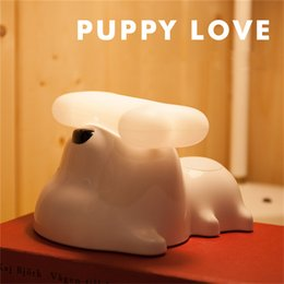 Wholesale Cute Puppy Love Dog Bedside Lamp Portable Doggie Dimmable touch Sensor desktop Lamp for Baby Kids Bedroom Dog Bone LED Cartoon Night light