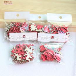 Promotion mini-roches (5Styles, 150pcs / set) 20mm Tissu Topr Bois Retour Noël Ornements Très Mini Renne, arbre, flocons de neige, Rocking Horse-H8099552
