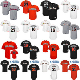 Wholesale 2017 Men s Miami Marlins Jose Fernandez Christian Yelich Giancarlo Stanton Authentic cool base flesbase Baseball Jersey Stitched