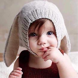 Descuento cute baby accesorios de fotografía Knited Baby Hat Máscara Conejo Oído Artesanal Recién nacido Fotografía Apoyos Bebé Gorras Beanie Niño Niño Niño Otoño Cute Bone