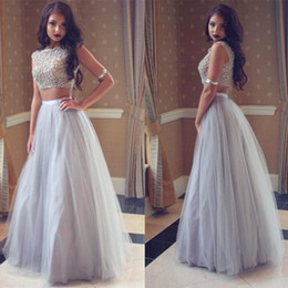 Wholesale Two Piece Lace Prom Dresses Charming A Line Tulle Online Clothing Store Floor Length Formal Dress Pageant Evening Gowns