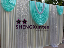 3M*6M Ice Silk Wedding Backdrop Curtain \ Stage Background - Ivory And Turquoise Color