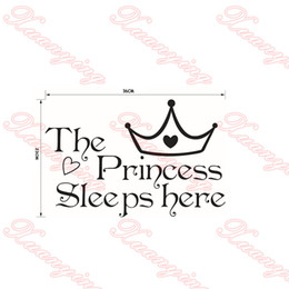 Hot Wall sticker DIY The Princess Sleeps Here Vinyl Wall Stickers For Living Rooms Bedroom Art Wallpapers Home Decorr