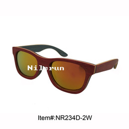 fashionable red skateboard wood frame polarized orange lens sunglasses