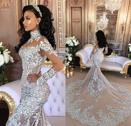 Vintage Mermaid Wedding Dress Vestido De Novia 2019 Sheer Long Sleeve with Lace Beads Detachable Tulle Wape Lebanon Wedding Dresses