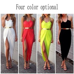 Wholesale Dress Summer Maxi The New Skirt with Shoulder straps Accept Waist Shoulder Show Sexy Hip Cultivate One s Morality Fold High Split Dress Tide