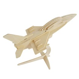 MICHLEY 1pc 3D Wooden Jigsw Puzzle Kid Educational Woodcraft DIY Kit Toy Simulation Models F-16 Fighter Plane 1ZJ0026-woodpuzzle