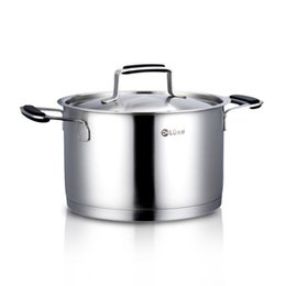 Wholesale 24cm Short Soup Pan The Black Silicone Handle Encapsulated Stockpot with Stainless Steel lid