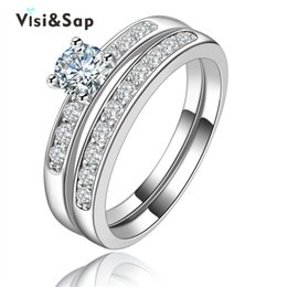 Vsisap Bridal sets jewelry rings for women Wholesale vintage jewelry trendy wedding ring White Gold color VSR124