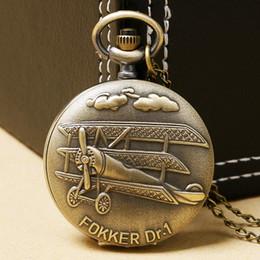 Wholesale Vine D Airplane Design Bronze Quartz Pendant Fob Pocket Watch With Necklace Chain Gift For Men Women