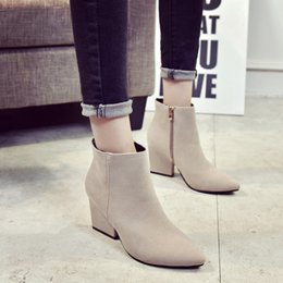 2017women shoes new trend pointed high-heeled with black boots after the zipper leather shoes Martin boots high heels 35-39
