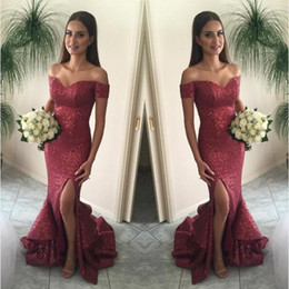 2017 Cranberry Mermaid Prom Dresses Off the Shoulder Split Front Sparkling Sequin Evening Gown Sexy Burgundy Tired Skirts Court Train BA1066