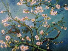 Wholesale Van Gogh almond tree branches genuine Pure Handpainted Landscape Art oil Painting On Thick Canvas Multi Size ny