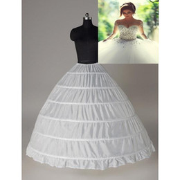 Super Cheap Ball Gown 6 Hoops Petticoat Wedding Slip Crinoline Bridal Underskirt Layes Slip 6 Hoop Skirt Crinoline For Quinceanera Dress