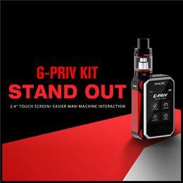 Wholesale 100 Original Smok G Priv Kit W TC Box Mod TFT Touch Screen With TFV8 Big Baby Tank ML Capacity Fitting Dual Battery