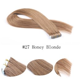 Hot selling remy human hair extensions 20pcs PU skin weft Silky Straight tape in hair extensions free shipping #27 Honey Blonde