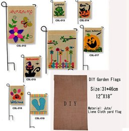 Wholesale 2017 Fashion DIY Burlap Garden Flags quot Wx18 quot H DIY Jute Liene Yard House Decorative Hanging Flag Courtyard Printed Ads Flags Free Ship