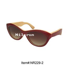 fashion women's cat eye red painting bamboo sunglasses
