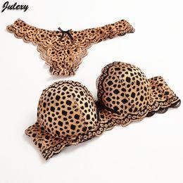 Wholesale Julexy Gold Leopard Temptation Lace Thongs Women Bra Set Intimate Plus Size ABC Push Up Bra Brief Sets Sexy Underwear Panty Set