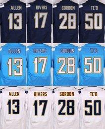 Wholesale Stitched San Diego Elite football jerseys chargers jerseys ALLEN RIVERS GORDON TE O BOSA light blue navy white freeship