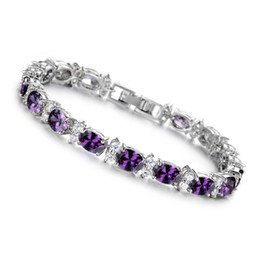 SHARDON New fashion white gold plating green purple crystal inlay cooper bracelet for women AS gift