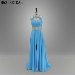 Blue Beaded Chiffon Long Prom Dresses Girls Party Evening Dresses Long Front Slit A line Formal Gowns 005