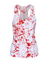 Wholesale Novelty Blood Printed Pattern Fitness Casual Style Women T shirt Blusa Camisole Summer Tank Top X