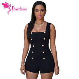 Descuento las mujeres atractivas de oro Playsuits Womens 2016 Black Gold Botones Zipper Romper Pantalones Cortos Sexy Mono macacao feminino Summer bodysuits LC60513 17410