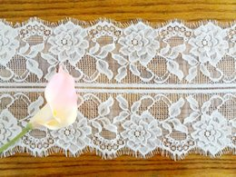 Lace Fabric Trims Polyester Jacquard Guipure Home Textiles Decor Ribbon Sewing Party DIY Clothing Apparel Accessories Floral WHITE 18*300cm