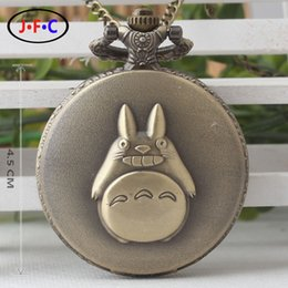 Wholesale Lovely watch chain round table Totoro flip alloy retro large quartz pocket watch DS233