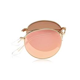 Espejo de cristal clásico en venta-Gafas de sol Classic Bronce espejo Lentes plegable de bronce Metal gafas de sol ronda marco para hombres Marca Diseñador Moda mujer gafas de sol caja