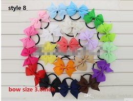 8 style available ! Baby Girls Ribbons Pinwheel Cheer Bows with Elastic Rubber Hair Bands Ponytail Holder HairCheerleading Bow 50pcs