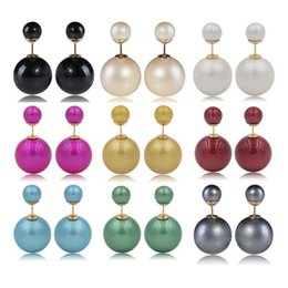 Color highlight paint effect champagne champagne Pearl Earrings FZ60