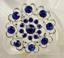Silver Tone Royal blue rhinestone crystal diamante heart brooch pin