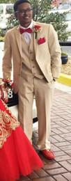 Groom Tuxedos Groomsmen Two Button Beige Notch Lapel Best Man Suit Wedding Men's Blazer Suits Custom Made (Jacket+Pants+Vest+Tie) p8