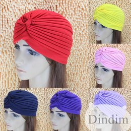 Wholesale Holiday sale Stretchy Turban Head Wrap Band Sleep Hat Women India Caps Scarf Hat Ear Cap Colors