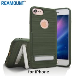 50 pcs High Quality TPU Kickstand Case For iPhone 7 Slim Crystal Stand Cover Kickstand Holder Back Case