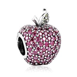 Wholesale Authentic Sterling Silver Bead Charm Cute Pave Apple With Full Crystal Beads Fit Women Pandora Bracelet Bangle Diy Jewelry HKA3010